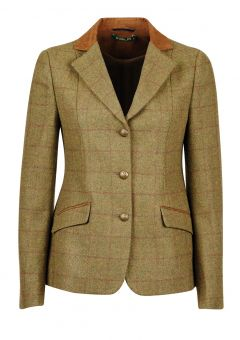 Dublin Albany Tweed Ladies Suede Collar Tailored Jacket - Brown