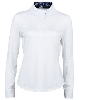 Dublin Ria Ladies Long Sleeve Competition Shirt - White Navy-Small