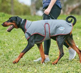 WeatherBeeta ComFiTec Premier Free Parka Deluxe Dog Coat Medium-Grey - Burgundy-25cm Clearance - WeatherBeeta