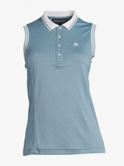 PS of Sweden Minna Sleeveless Polo Shirt-Aqua-X Small - Clearance - PS of Sweden