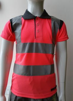 Rockfish Rider Kids Hi Viz Polo Shirt Pink