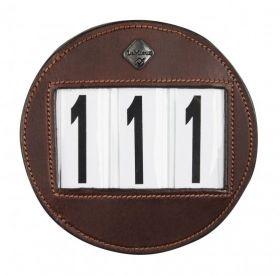 LeMieux Bridle Number Holder Brown Distressed Round - LeMieux