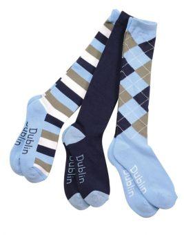Dublin Socks 3 Pack Navy/Sky Blue - Dublin