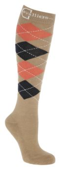 Covalliero Check Riding Socks SS21 - Wood Coral Navy