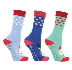 Hy Equestrian Children's Christmas Character Socks (Pack of 3) - Navy/Blue/Green - Child 8-12
