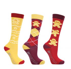 Hy Equestrian Gingerbread Man Mizs Socks (Pack of 3) - Sienna/Antique Red