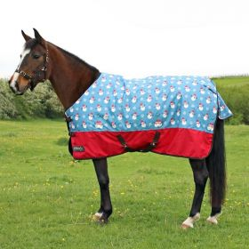 StormX Original Snowy the Snowman 200 Turnout Rug - Ice Blue/Berry Red