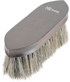 HySHINE Deluxe Horse Hair Wooden Dandy Brush - Dark Brown - 18 x 5.7cm