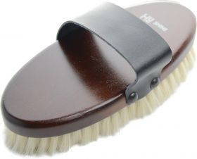 HySHINE Deluxe Goat Hair Wooden Body Brush - Dark Brown - Large