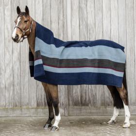 Kentucky Heavy Fleece Rug Square - Black Grey Stripes