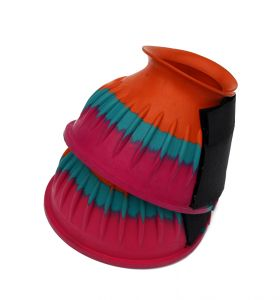 Harlequin Velcro Fastening Over Reach Boots Multi Coloured