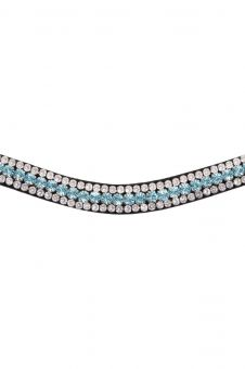 Montar Basil Browband Black Leather - Aqua & Clear Stones