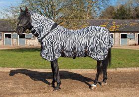 Rhinegold Zebra Print Fly Rug Full Neck