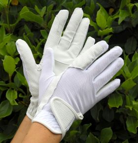 Rhinegold Super Stretch Mesh Back Riding Gloves-White-Small Clearance