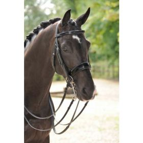 Amerigo Vespucci Patent Leather Double Bridle with Reins Black