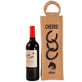 Elico Jute Bottle Bag - Cheers