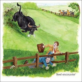 James Herriot Greeting Card - Beef Encounter