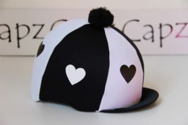 Capz Lycra Skull Cap Cover Hearts with Pom Pom  Black - White