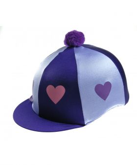 Capz Lycra Skull Cap Cover Hearts with Pom Pom  Purple - Lilac