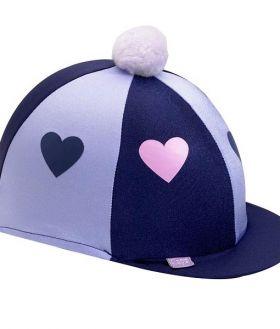 Capz Lycra Skull Cap Cover Hearts with Pom Pom  Navy - Lilac Hearts