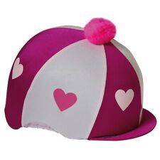 Capz Lycra Skull Cap Cover Hearts with Pom Pom  Cerise - Pink