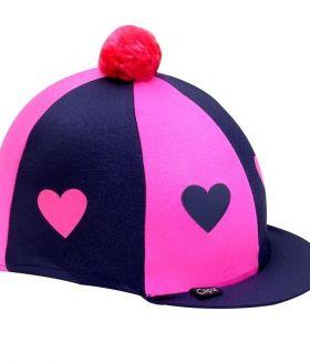 Capz Lycra Skull Cap Cover Hearts with Pom Pom  Navy - Pink Hearts