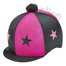 Capz Lycra Skull Cap Cover Stars with Pom Pom  Black - Cerise