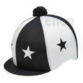 Capz Lycra Skull Cap Cover Stars with Pom Pom  Black - White
