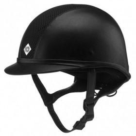 Charles Owen AYR8 Leather Look Hat-Black-63cm - 5 - 7 3/4