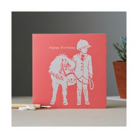 Deckled Edge Colour Block Pony Card	Happy Birthday - Child with Pony