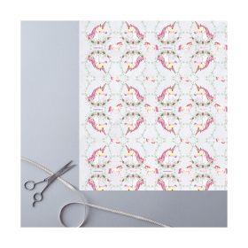 Deckled Edge Gift Wrap - Christmas Unicorns - Deckled Edge