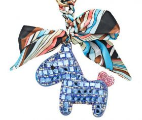 Someh Crystal Horse Keychain - Blue