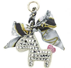 Someh Crystal Horse Keychain - Silver