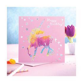 Deckled Edge Prancing Myth Card Happy Birthday - Dancing Unicorn
