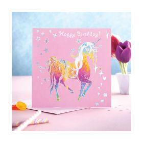 Deckled Edge Prancing Myth Card Happy Birthday - Glitter Unicorn