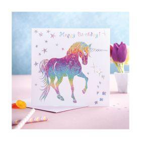 Deckled Edge Prancing Myth Card Happy Birthday - Prancing Unicorn
