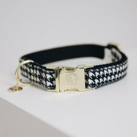 Kentucky Pied-De-Poule Dog Collar - Black