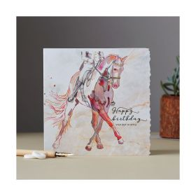 Deckled Edge Fanciful Dolomite Card Happy Birthday - Dressage Horse