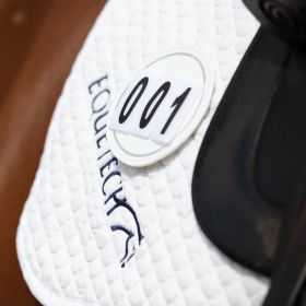 Equetech Deluxe Leather Saddle Cloth Number Holders - White Pair