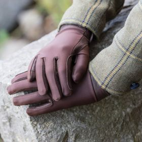 Equetech Junior Stretch Show Gloves  Brown