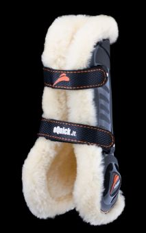eQuick eShock Front Fluffy Tendon Boots with Faux Fur Black