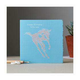 Deckled Edge Colour Block Pony Card - Happy Birthday - Foal