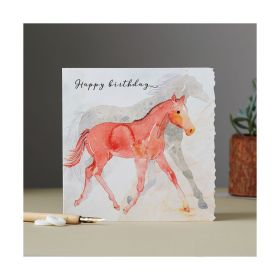 Deckled Edge Fanciful Dolomite Card Happy Birthday - Foal