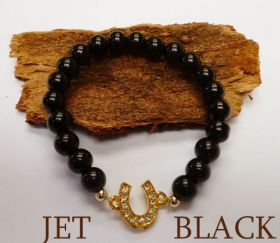 Good Fortune Glass Pearl Horse Shoe Bracelet  Black