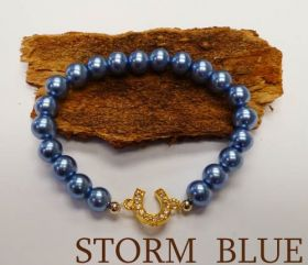 Good Fortune Glass Pearl Horse Shoe Bracelet  Blue