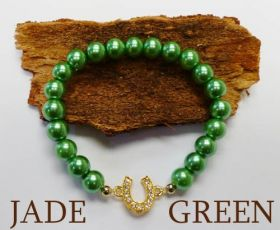 Good Fortune Glass Pearl Horse Shoe Bracelet  Jade
