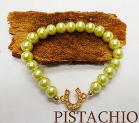 Good Fortune Glass Pearl Horse Shoe Bracelet  Pistachio