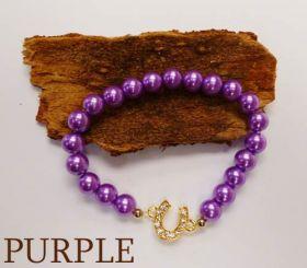 Good Fortune Glass Pearl Horse Shoe Bracelet  Purple