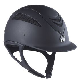 One K Defender Air Black with Black Swarovski Riding Helmet