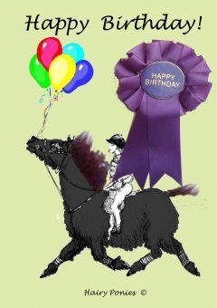 Hairy Ponies Birthday Card BLK